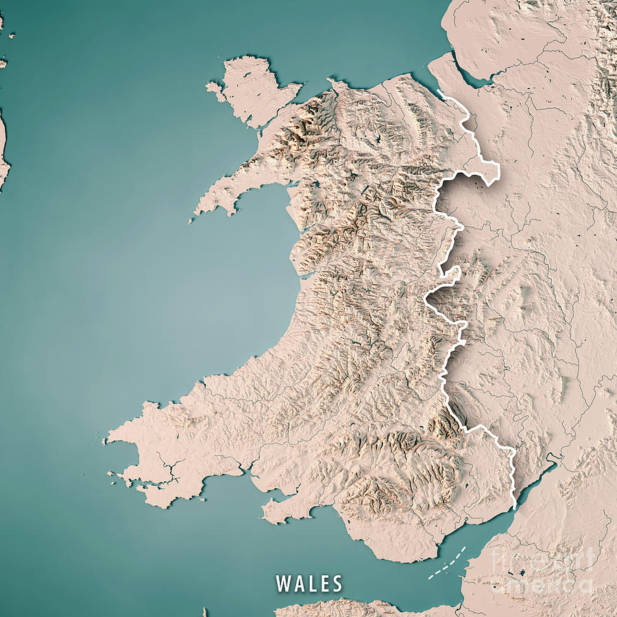 3d Terrain Map Of Uk.Wales Country 3d Render Topographic Map Neutral Border Digital Art