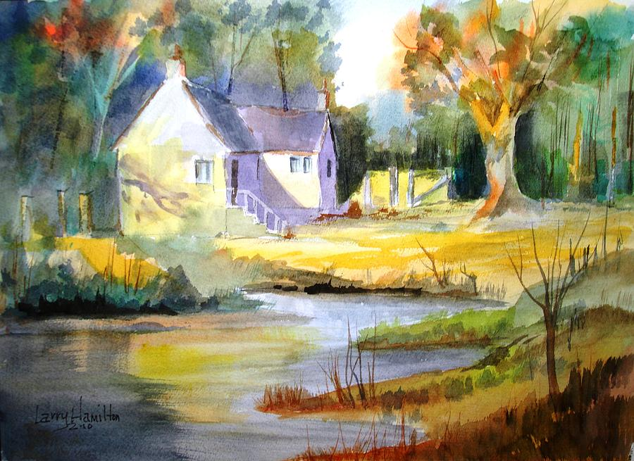 Watercolor Painting - Wales Country House by Larry Hamilton