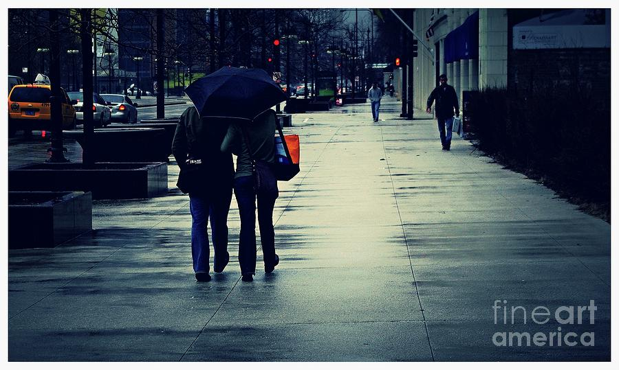 People Photograph - Walking in the Rain - City of Chicago by Frank J Casella