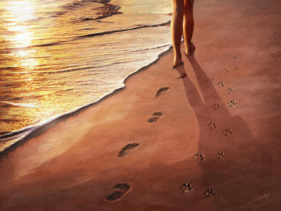 Beach Painting - Walk Beside Me by Cliff Hawley