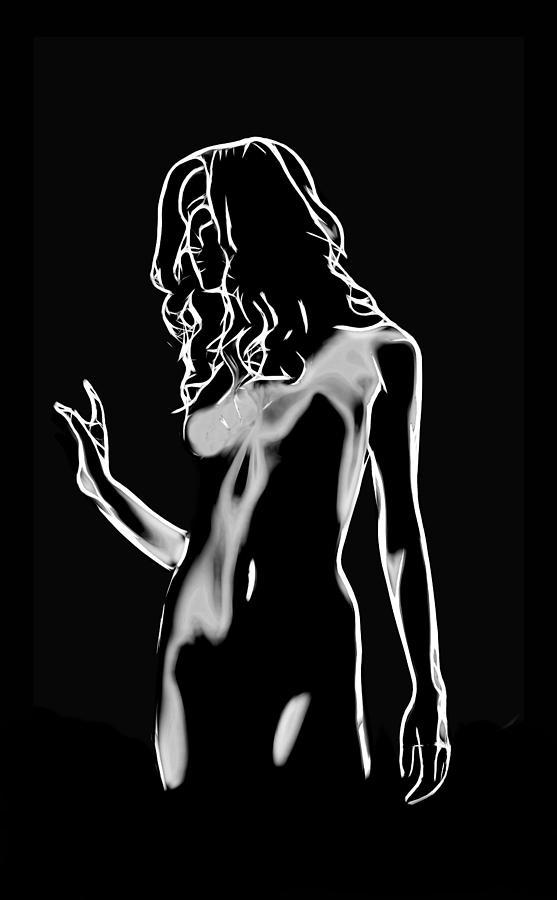 Female Digital Art - Walk In The Dark by Steve K