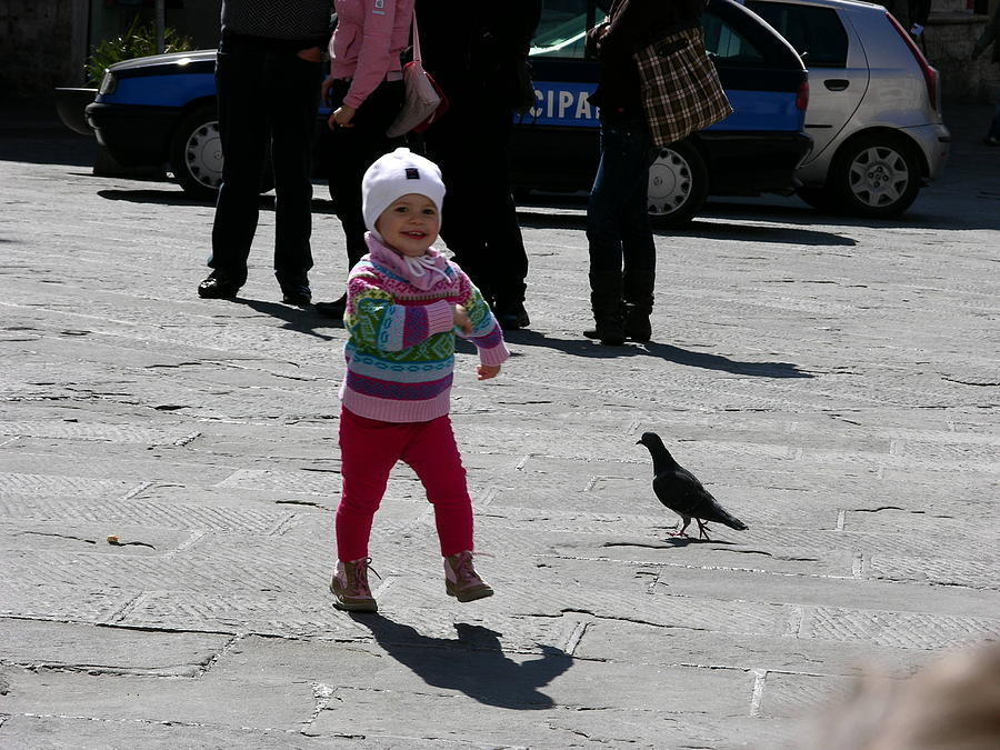 Child Photograph - Walk Like A Pigeon by Thor Sigstedt