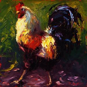 Chicken Painting - Walk On By by Cheri Christensen