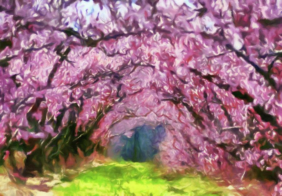 Beauty Painting - Walk Through Blossom Trees by Georgiana Romanovna