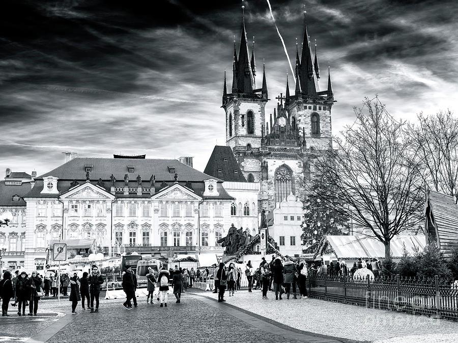 Street Scene Photograph - Walk Through The Prague Christmas Market by John Rizzuto
