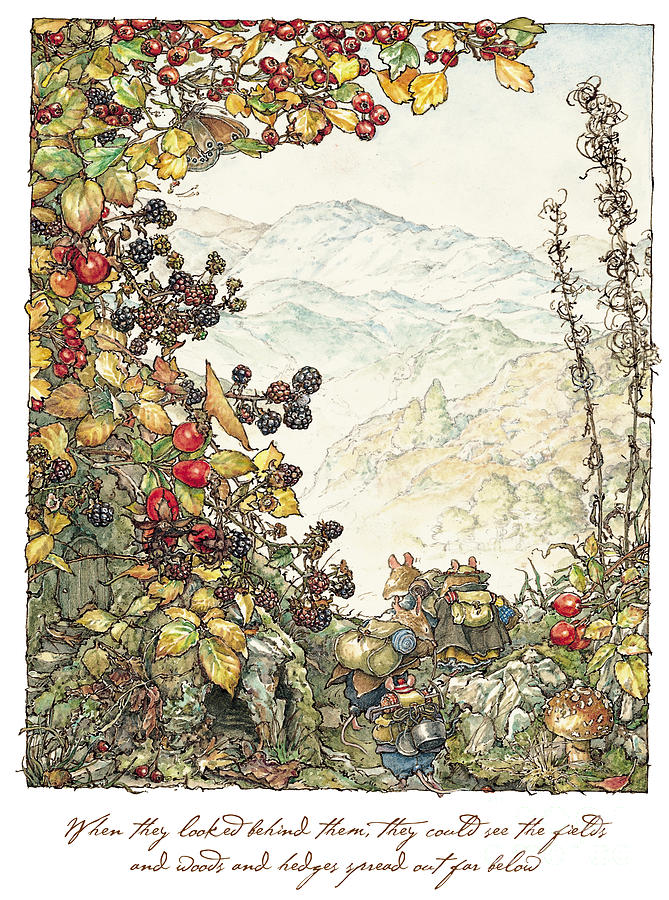 Brambly Hedge Drawing - Walk to the High Hills by Brambly Hedge