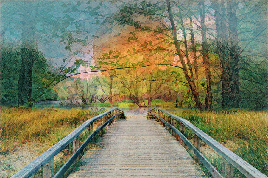 Appalachia Photograph - Walk To The Lake In Watercolors by Debra and Dave Vanderlaan