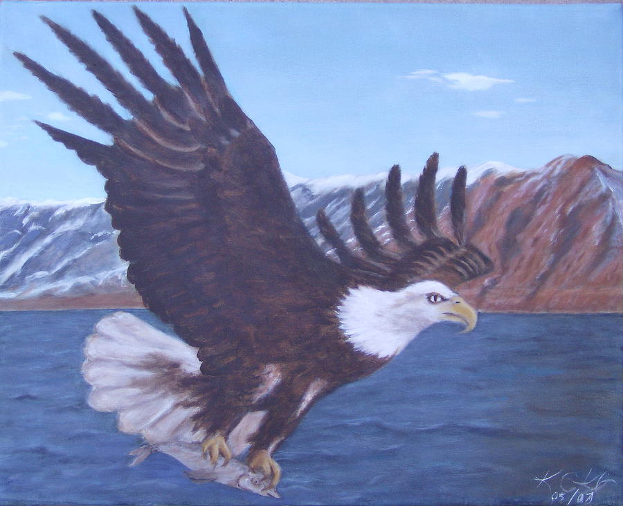 Eagle Painting - Walker Lake by KC Knight