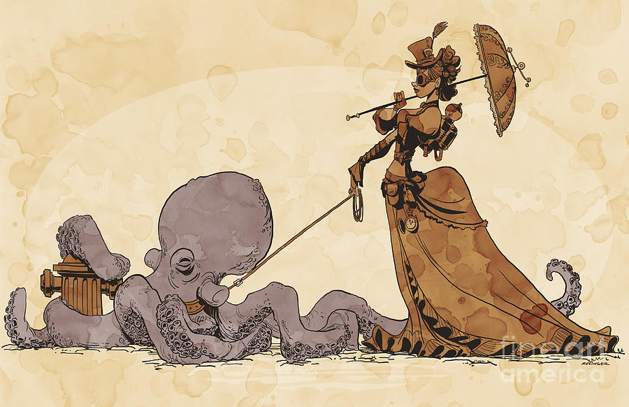 Steampunk Digital Art - Walkies for Otto by Brian Kesinger