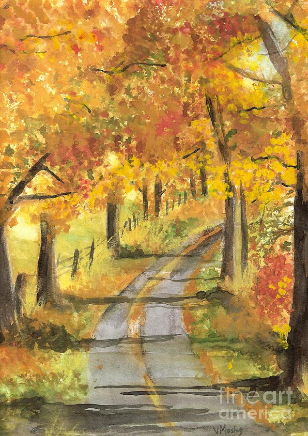 Fall Painting - Walkin by Vivian  Mosley