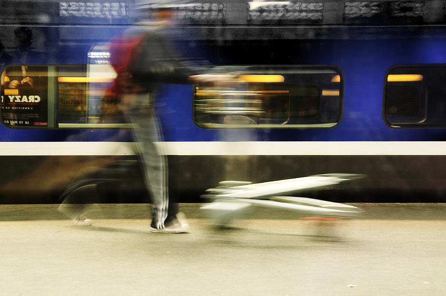 Station Photograph - Walking Along The Quay by Martine Affre Eisenlohr