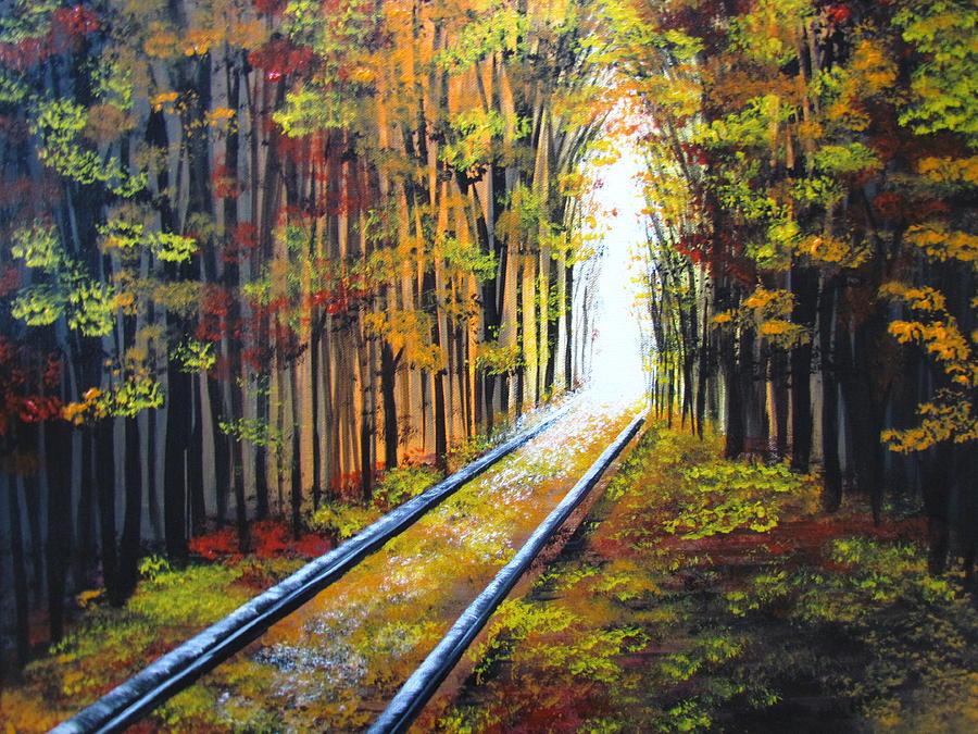 Fall Painting - Walking Along The Tracks by Mandy Joy
