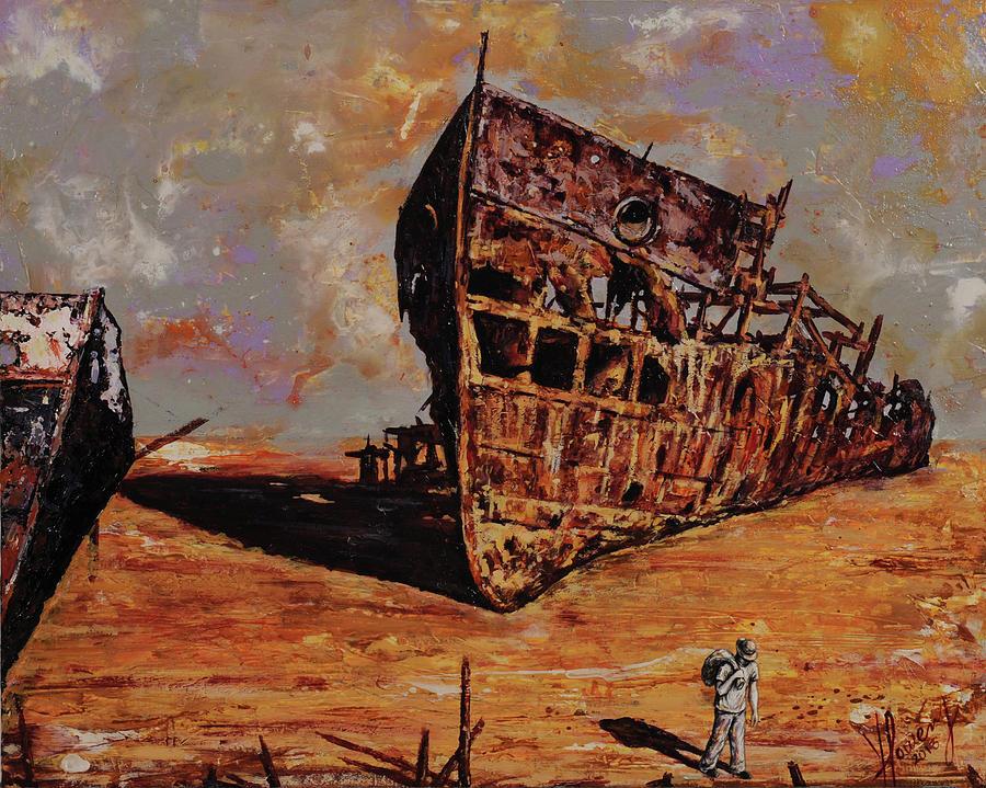 Shipwreck Painting - Walking Away by Yonier Powery