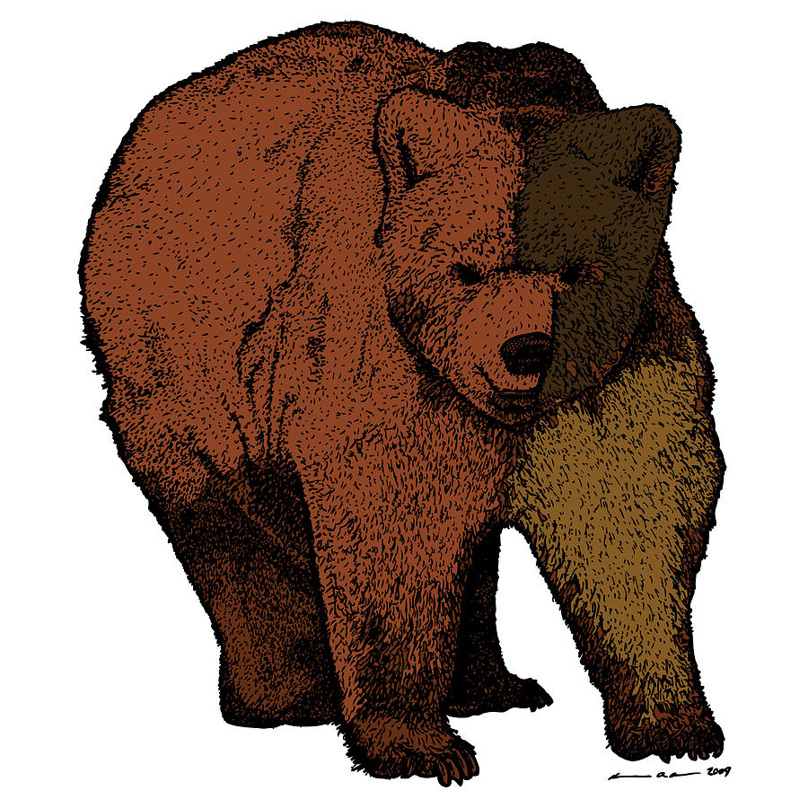 Walking Bear - Color Drawing by Karl Addison Walking Bear Drawing