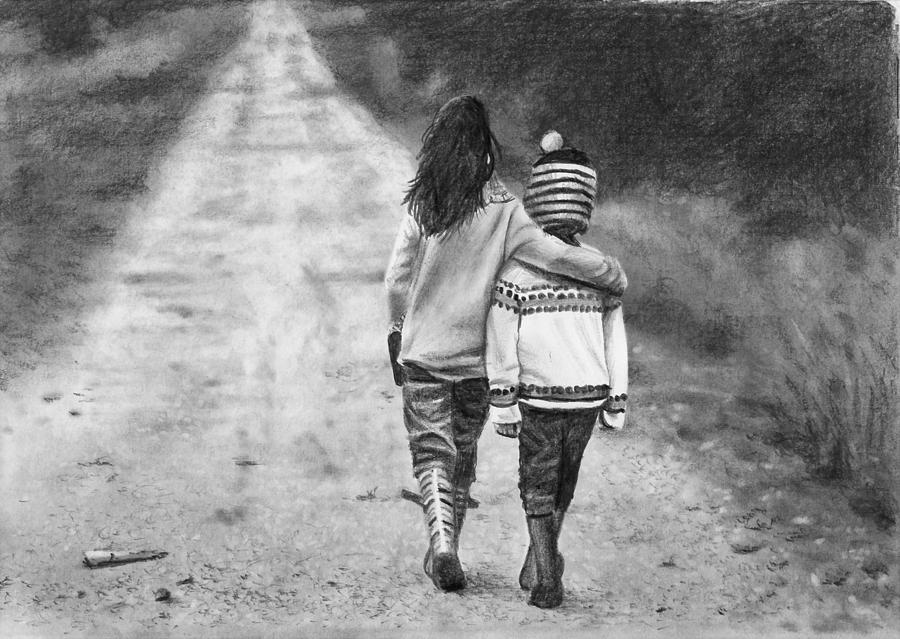 Pencil Drawing - Walking Down The Road by Nolan Clark