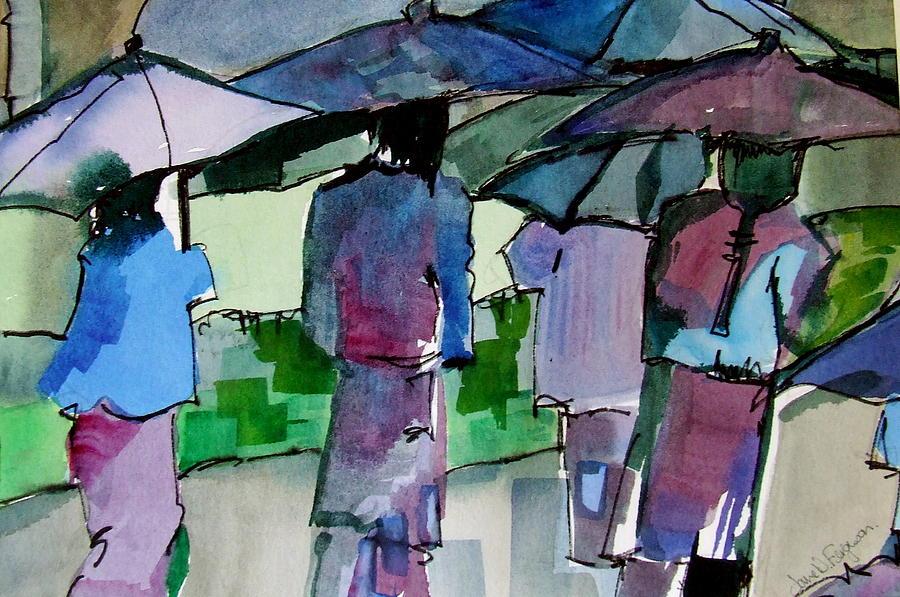 Figures Painting - Walking In The Rain by Jane Ferguson