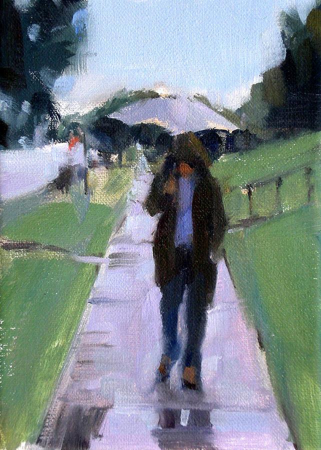 Figurative Painting - Walking In The Rain by Merle Keller