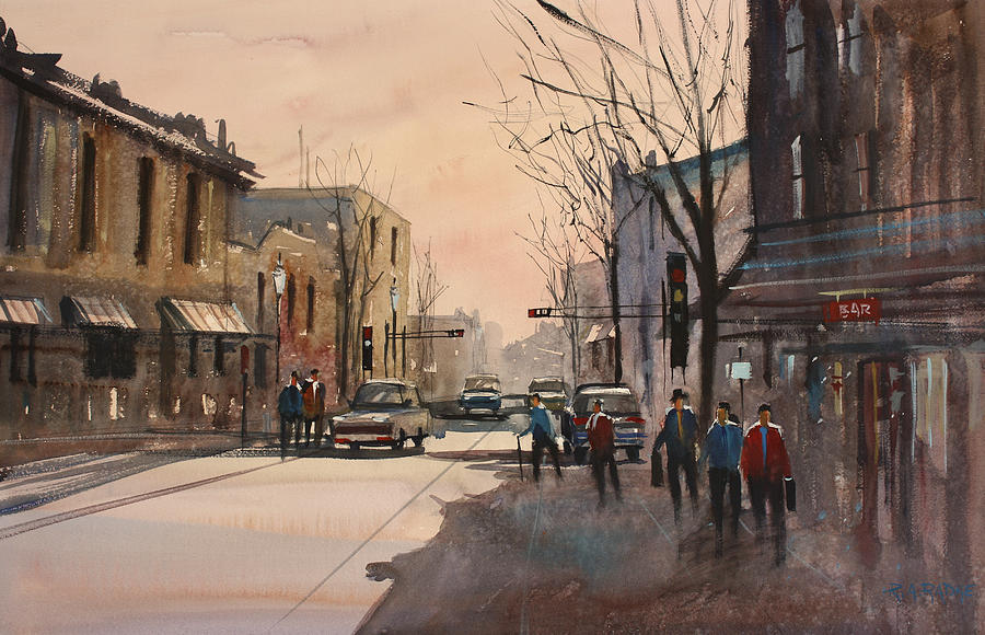 Watercolor Painting - Walking In The Shadows - Fond Du Lac by Ryan Radke