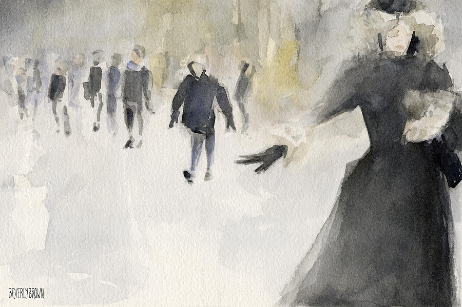 New York Painting - Walking In The Snow by Beverly Brown