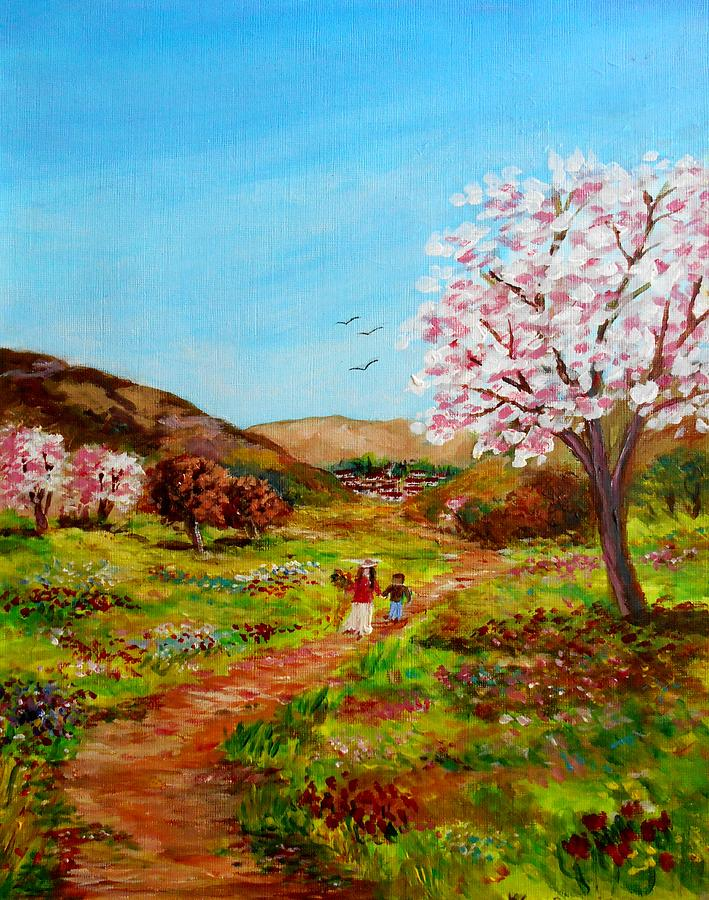 Greeting Cards Painting - Walking Into The Springfields by Constantinos Charalampopoulos