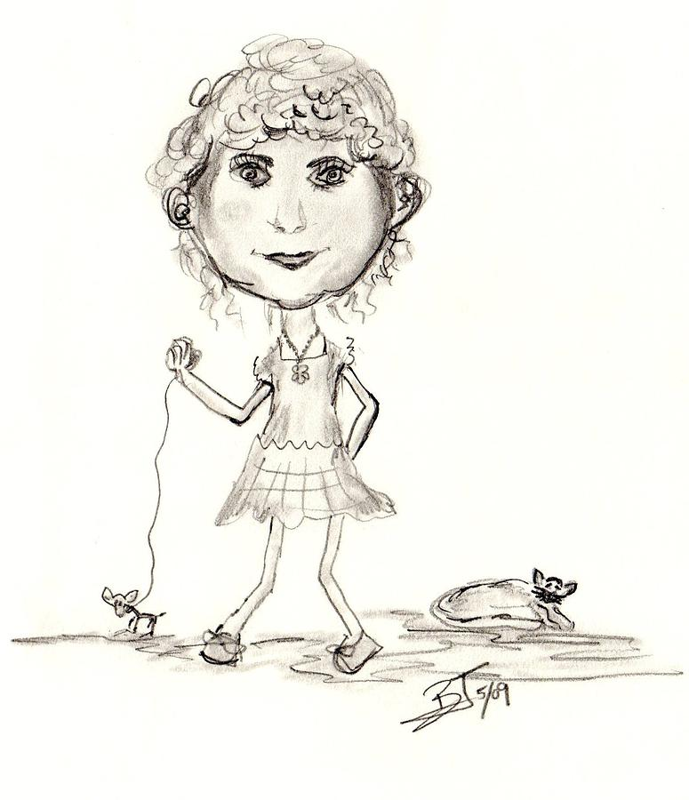 Girl Drawing - Sydney And Indy by Beverly Johnson