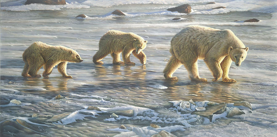 Wildlife Painting - Walking On Ice by Eric Wilson