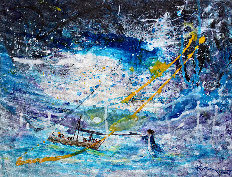 Gospels Painting - Walking On The Water by Kume Bryant