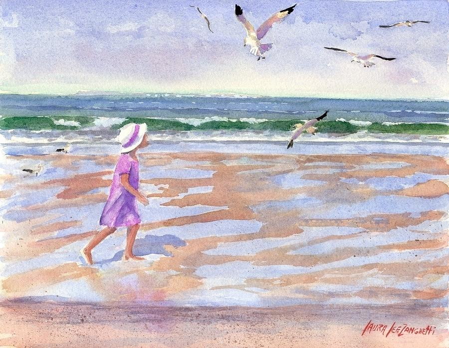 New England Painting - Walking The Cape by Laura Lee Zanghetti