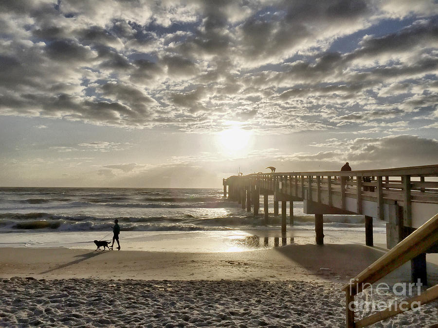 Boardwalk Photograph - Walking The Dog Beachside by Sue M Marshall