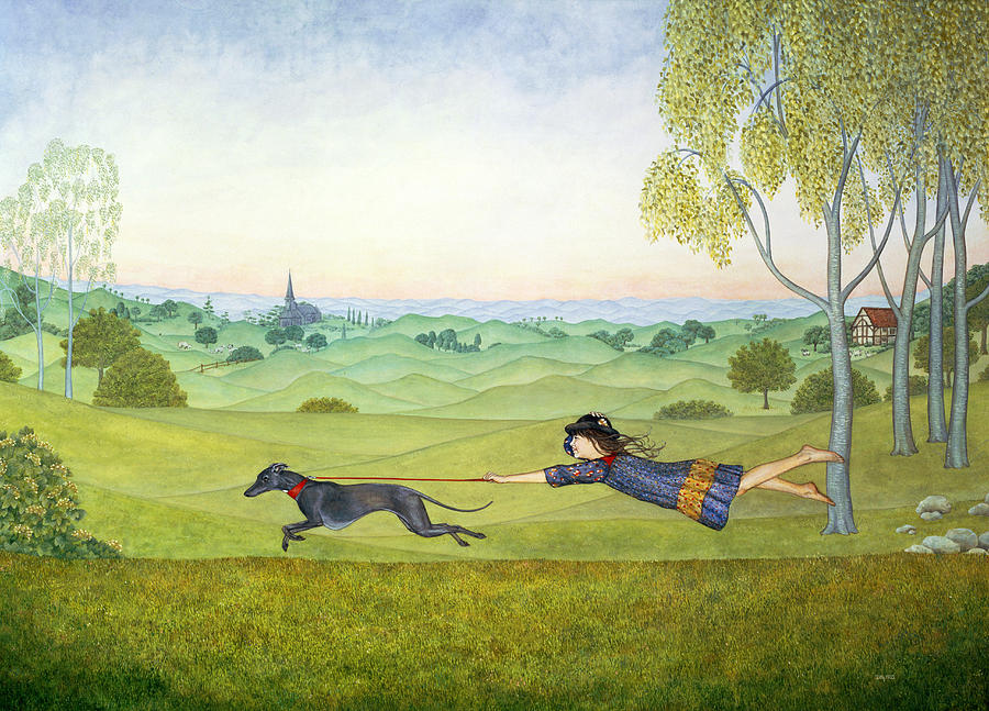 Child Painting - Walking The Dog  by Ditz