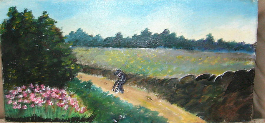 Painting Painting - Walking To Town by Anne-Elizabeth Whiteway