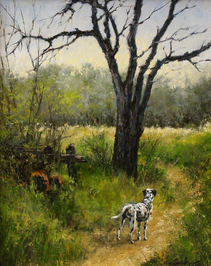 Landscapes Painting - Walking with Farley by Jim Gola