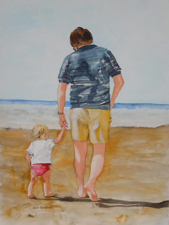 Beach Painting - Walking With Pops by Jean Blackmer
