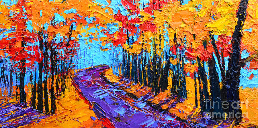 Walking Within - Enchanted Forest Collection - Modern Impressionist Landscape Art - Palette Knife by Patricia Awapara