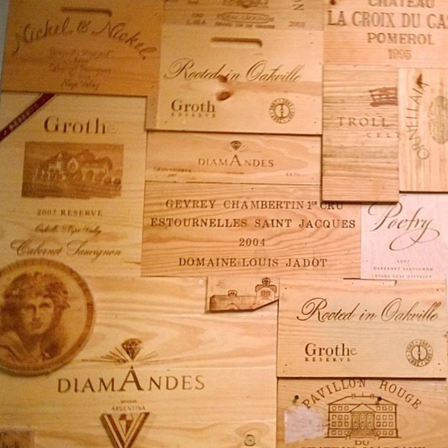 Decor Photograph - Wall Decorated With Used Wine Crates by Shari Warren