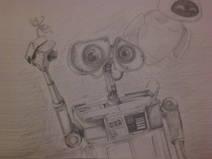 Wall-e Drawing - Wall-e With Plant by Lisa Leeman