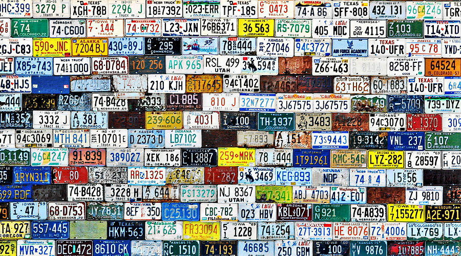 Vehicle Photograph - Wall Of American License Plates by Christine Till
