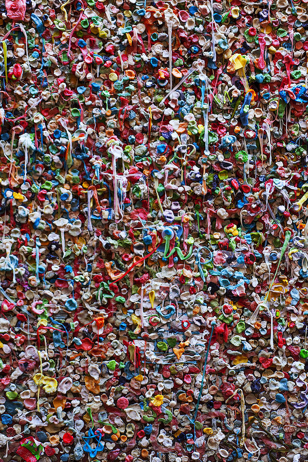 Chewing Gum Photograph - Wall Of Chewing Gum Seattle by Garry Gay