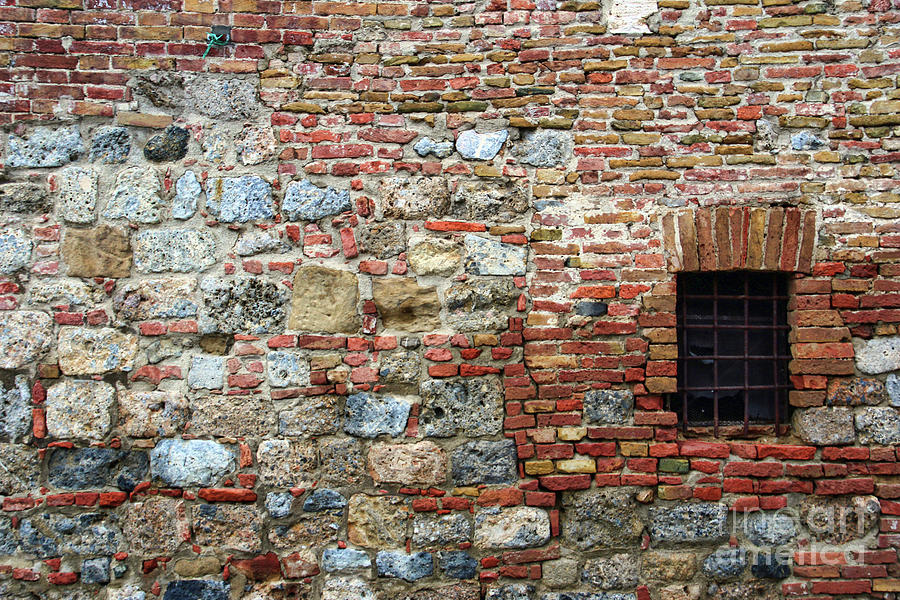 Wall Of Different Stones In Siena 1294 Photograph