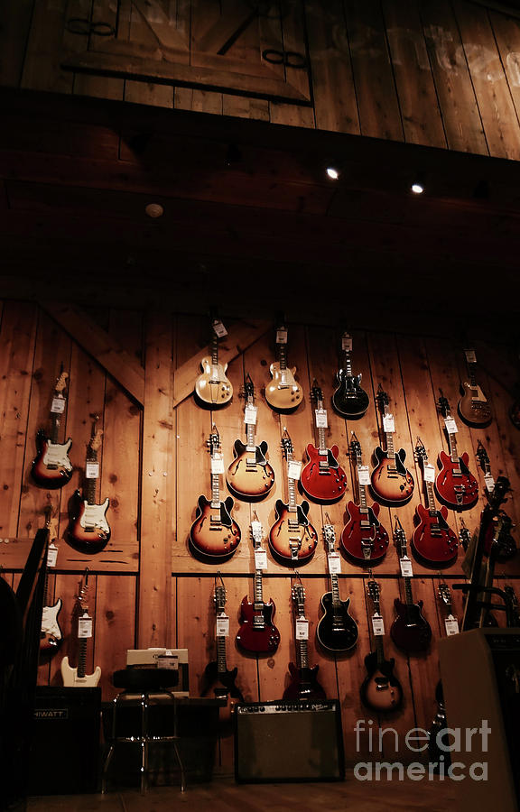 Music Photograph - Wall Of Guitars 2 - Guitar Center Hollywood by Gem S Visionary
