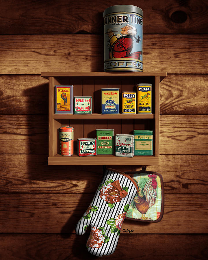 Wall Spice Rack Digital Art - Wall Spice Rack - Americana Kitchen Art Decor - Vintage Spice Cans Tins - Nostalgic Spice Rack by Walt Curlee