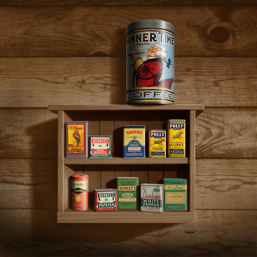 Wall Spice Rack - Americana Kitchen Art Decor - Vintage Spice Cans Tins -  Square Format