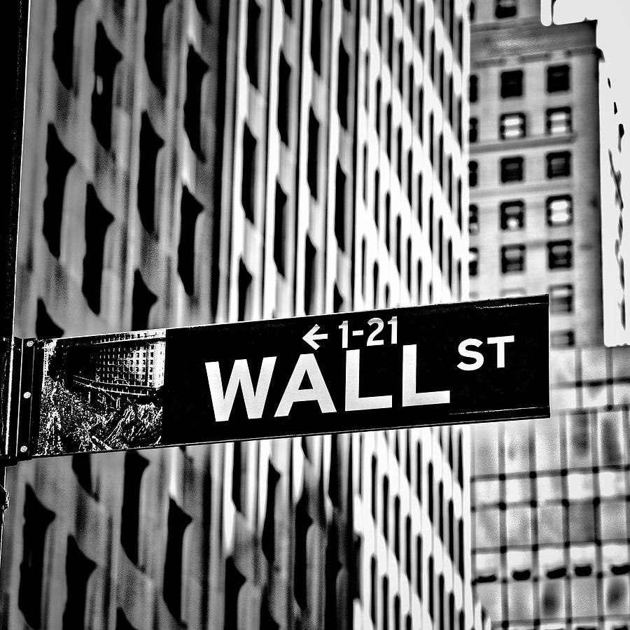 Signs Photograph - Wall St Sign New York In Black And White by Garry Gay
