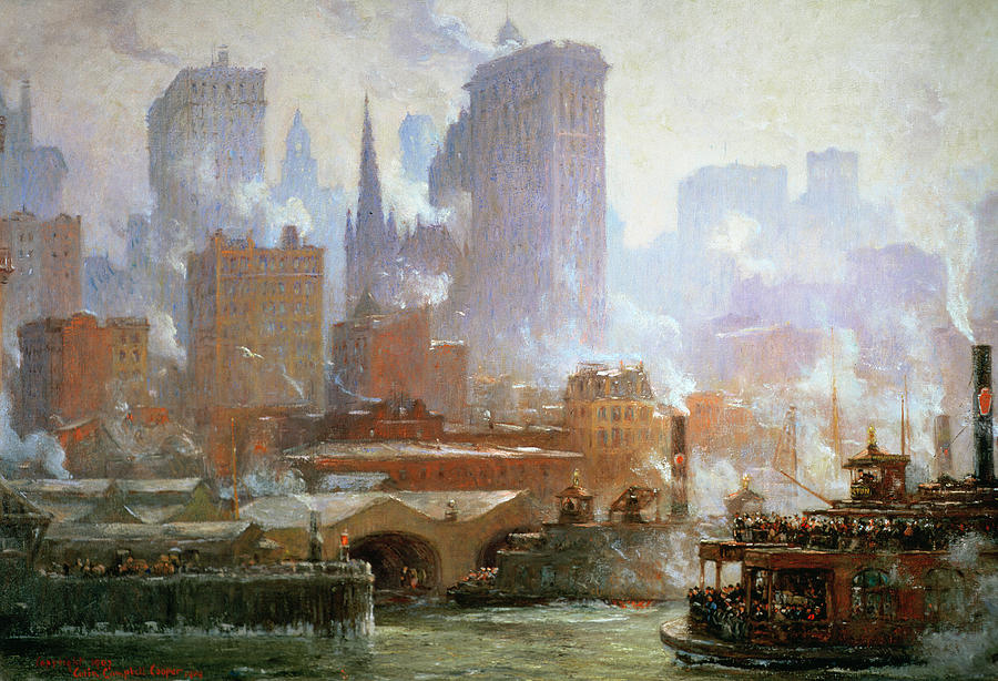 Wall Street Ferry Ship (oil On Canvas) By Colin Campbell Cooper (1856-1937)new York City; Smoke; Cityscape; Urban Landscape; Financial District; Manhattan; Ny Painting - Wall Street Ferry Ship by Colin Campbell Cooper