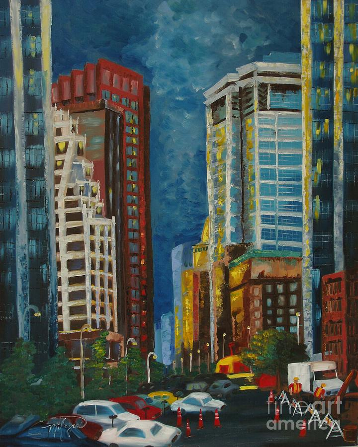 Landscapes Painting - Wall Street by Milagros Palmieri