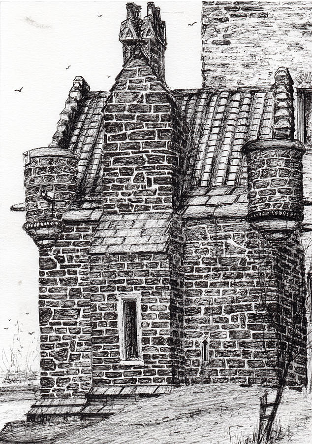 Black And White Drawing   Wallace Monument The Small House By Vincent  Alexander Booth