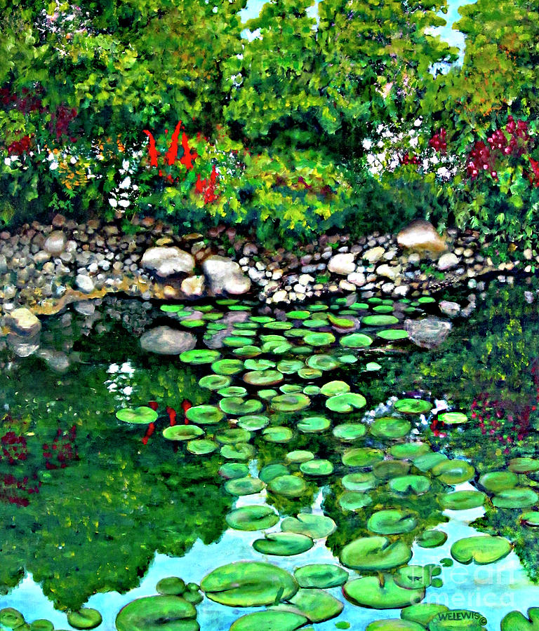 Garden Trees Painting - Wallingford Pond by Will Lewis