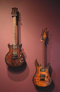 Guitars Mixed Media - Walnut Burl And Figured Koa Guitars by Jason Stensby