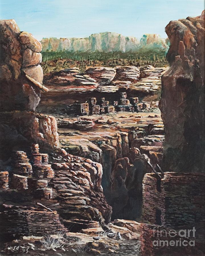 Anasazi Ruins Painting - Walnut Canyon by John Wise