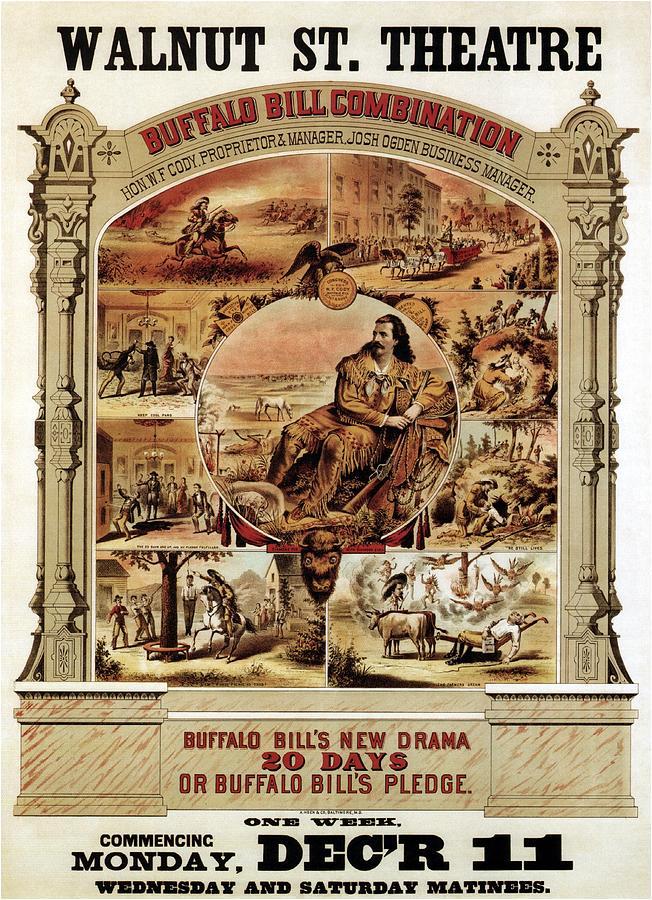 Walnut St. Theatre - Buffalo Bill Combination - Retro Travel Poster - Vintage Poster Mixed Media